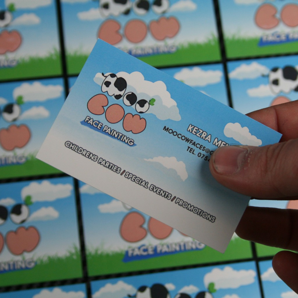 Moo cow manchester designed printed business cards spin shaping the letters to look like cows giving them patches just like a cow and finally making sure that the colours complement each other nicely colourmoves
